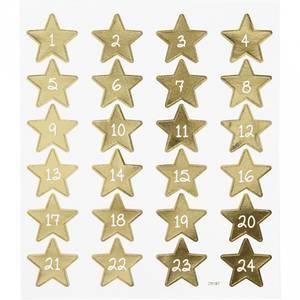 Bilde av Creotime - Stickers - 29187 - Kalendertall - Gull stjerner