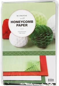 Bilde av Creotime - Honeycomb Paper - Light Green, Red, White & Green